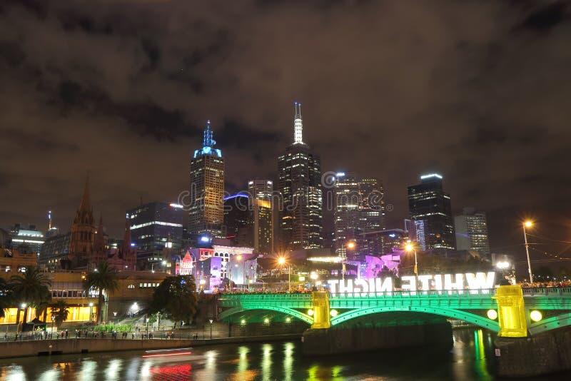 Ουρανοξύστες της Μελβούρνης, άσπρη νύχτα στοκ φωτογραφίες με δικαίωμα ελεύθερης χρήσης