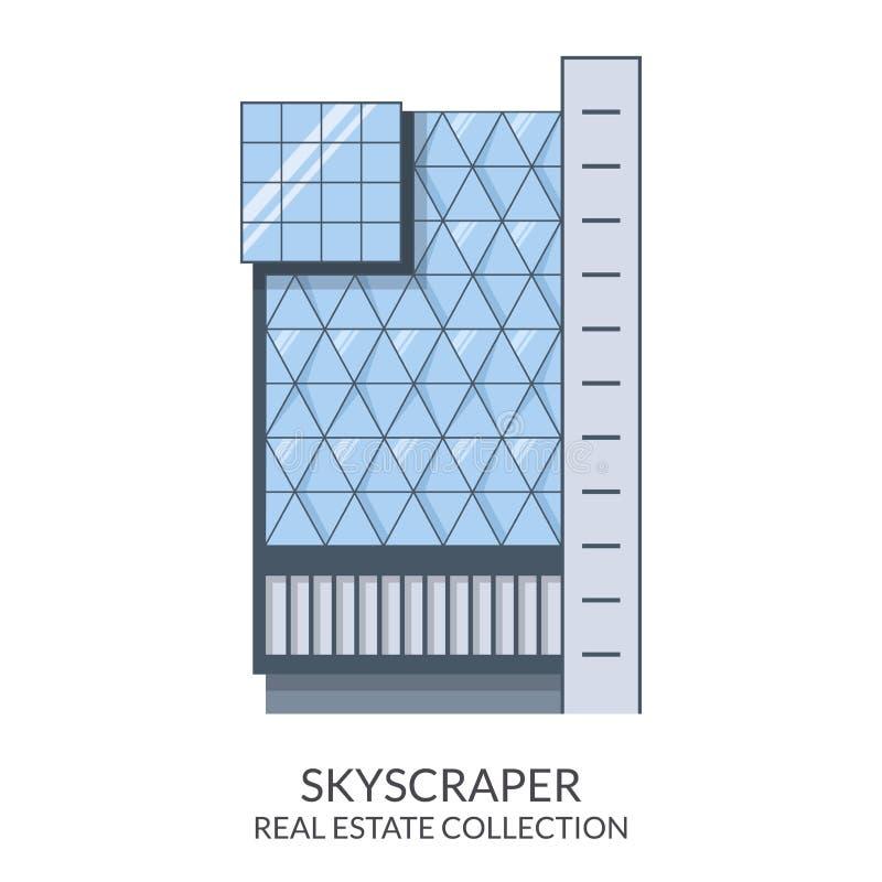 Ουρανοξύστης, σημάδι ακίνητων περιουσιών στο επίπεδο ύφος επίσης corel σύρετε το διάνυσμα απεικόνισης διανυσματική απεικόνιση