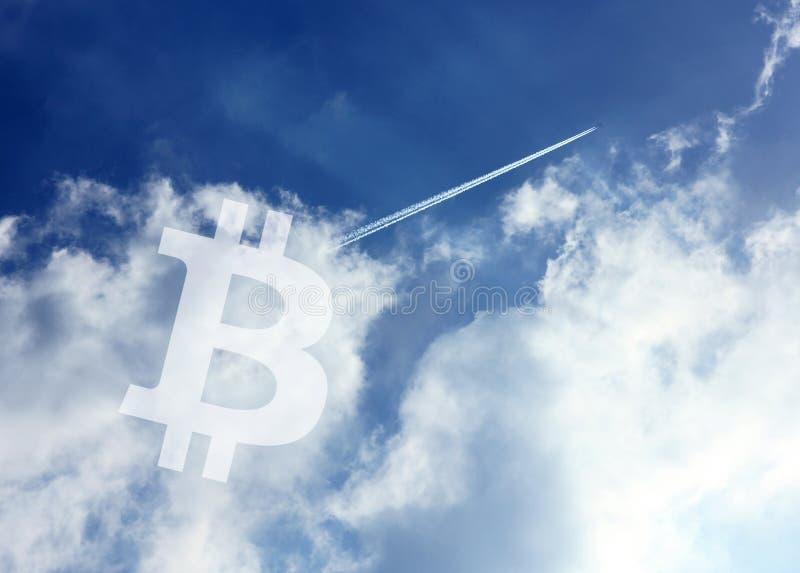 Ουρανός εικονιδίων Cryptocurrency Bitcoin στοκ φωτογραφίες με δικαίωμα ελεύθερης χρήσης