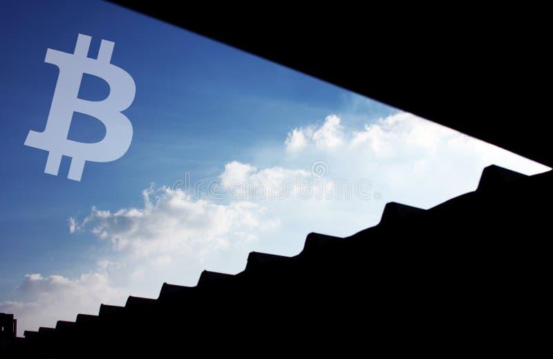 Ουρανός εικονιδίων Cryptocurrency Bitcoin στοκ φωτογραφία