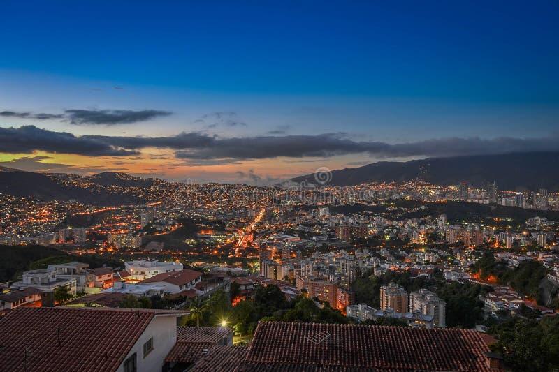 Ουρανός ηλιοβασιλέματος νύχτας του Καράκας τοπίων στοκ φωτογραφία με δικαίωμα ελεύθερης χρήσης