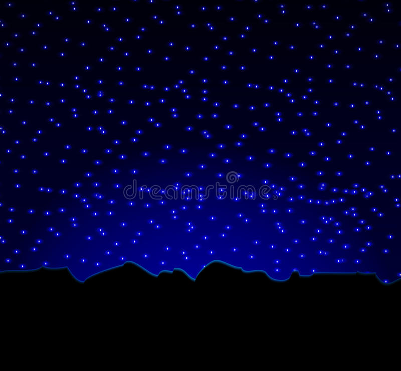 Ουρανός και βουνά αστεριών νύχτας διανυσματική απεικόνιση