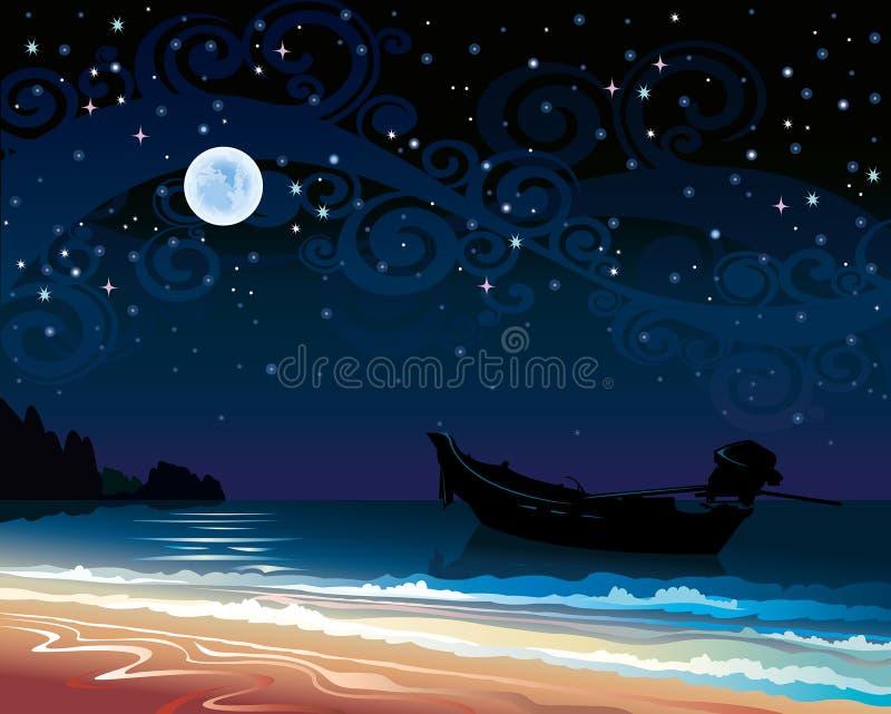 Ουρανός με τη πανσέληνο και τη βάρκα διανυσματική απεικόνιση