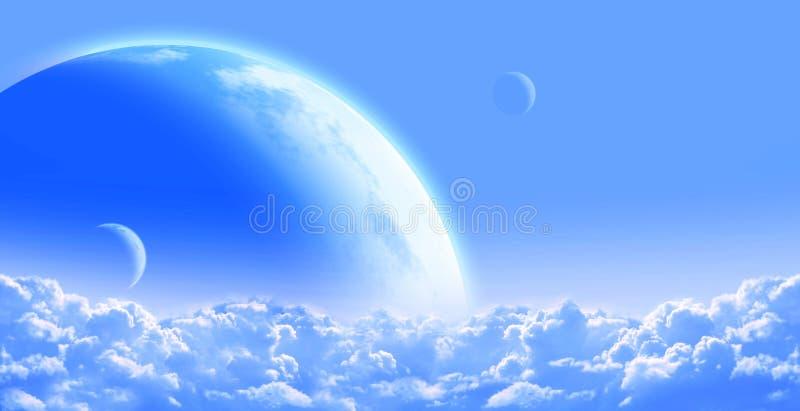 Ουρανός με το σύννεφο και τους πλανήτες διανυσματική απεικόνιση