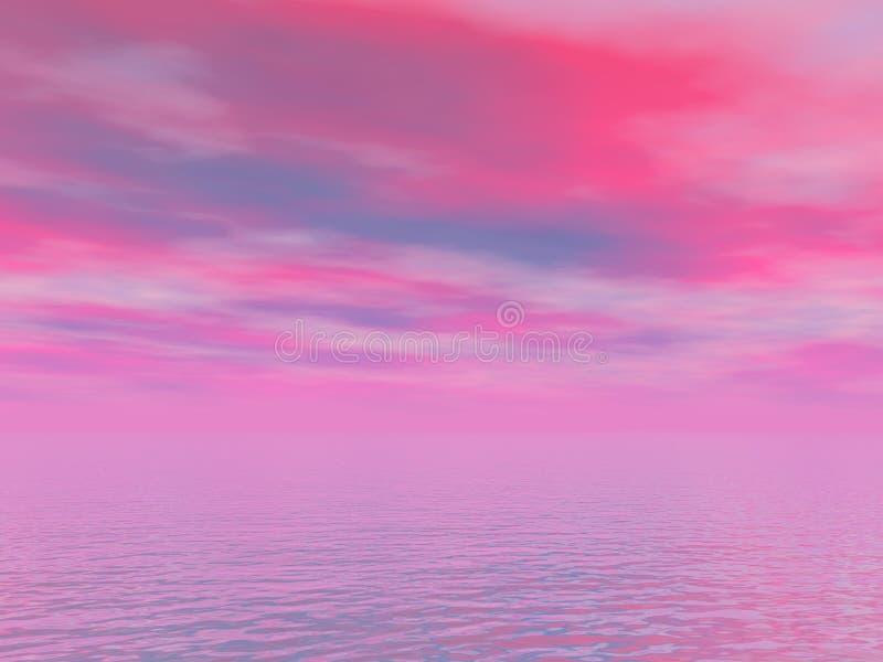 Ουρανός ρόδινος και μπλε και θάλασσα διανυσματική απεικόνιση