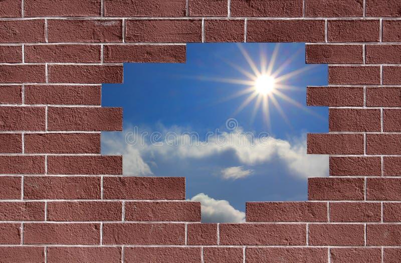 Ουρανός στο σπάσιμο τοίχων ένα στοκ εικόνες