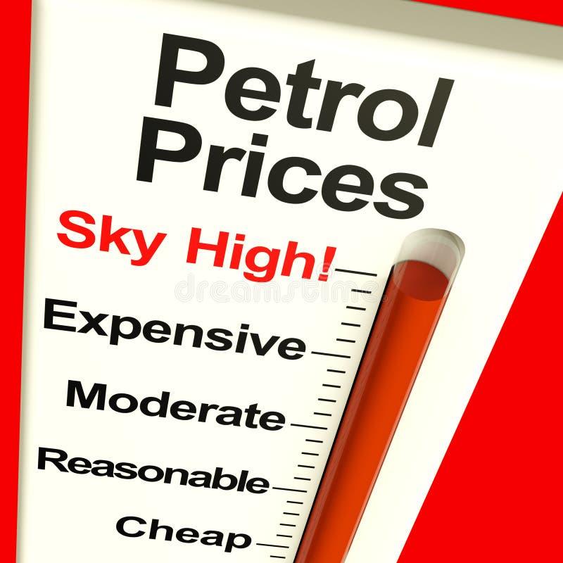 Ουρανός τιμών βενζίνης - υψηλός μηνύτορας ελεύθερη απεικόνιση δικαιώματος