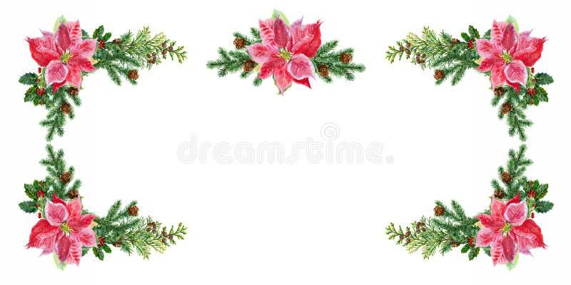 ουρανός santa του Klaus παγετού Χριστουγέννων καρτών τσαντών Διακοσμήσεις Χριστουγέννων των ερυθρελατών και του poinsettia waterc απεικόνιση αποθεμάτων