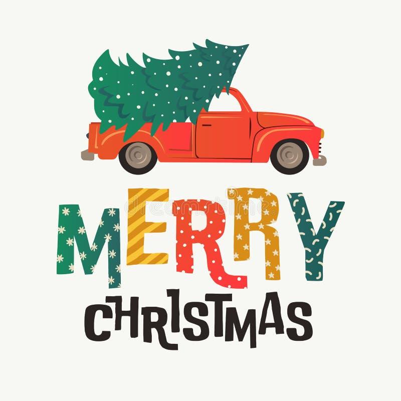 ουρανός santa του Klaus παγετού Χριστουγέννων καρτών τσαντών Κόκκινο αναδρομικό φορτηγό με το δέντρο και τα δώρα έλατου επίσης co απεικόνιση αποθεμάτων