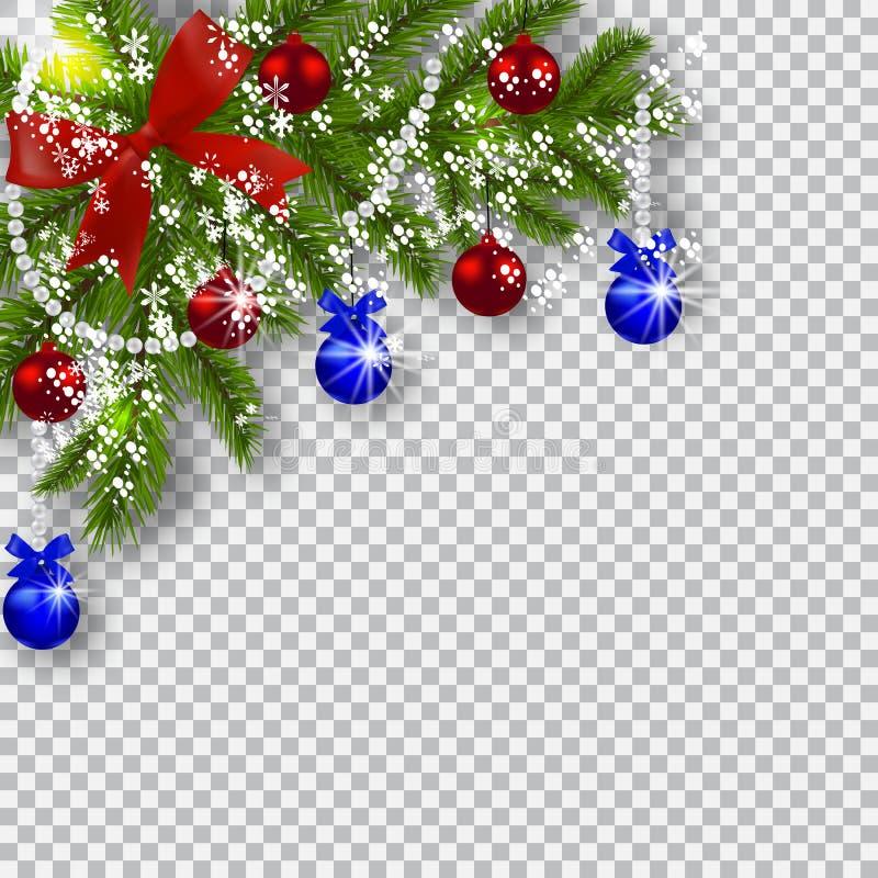 ουρανός santa του Klaus παγετού Χριστουγέννων καρτών τσαντών Πράσινοι κλάδοι ενός χριστουγεννιάτικου δέντρου με τις μπλε, κόκκινε απεικόνιση αποθεμάτων