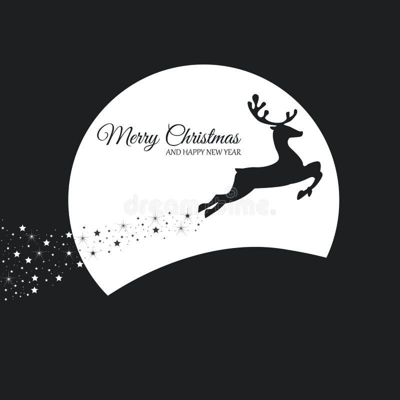 ουρανός santa του Klaus παγετού Χριστουγέννων καρτών τσαντών Τάρανδος που πηδά με το φεγγάρι απεικόνιση αποθεμάτων