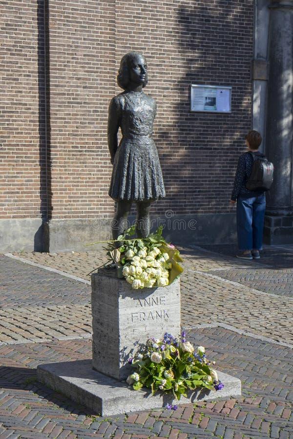 Ουτρέχτη, Κάτω Χώρες - 27 Σεπτεμβρίου 2018: Άγαλμα Άννας Φρανκ α στοκ εικόνα