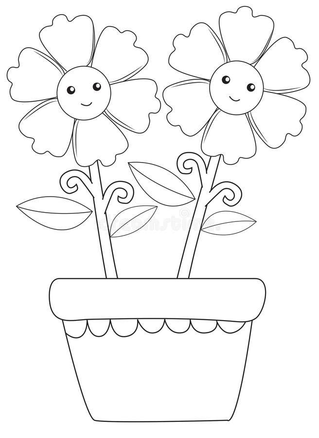 λουλούδια ευτυχή δύο διανυσματική απεικόνιση