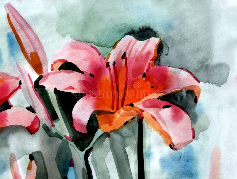 λουλούδια ι συντακτών watercolor εικόνων ζωγραφικής διανυσματική απεικόνιση