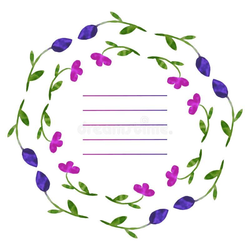 λουλούδια που τίθεντα&iot Ζωηρόχρωμη floral συλλογή με τα φύλλα και το φ ελεύθερη απεικόνιση δικαιώματος
