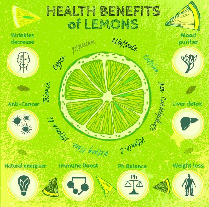 Οφέλη για την υγεία λεμονιών διανυσματική απεικόνιση