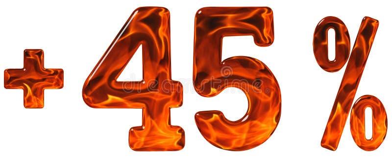 Οφέλη τοις εκατό, συν 45, σαράντα πέντε τοις εκατό, αριθμοί που απομονώνονται στοκ εικόνα με δικαίωμα ελεύθερης χρήσης