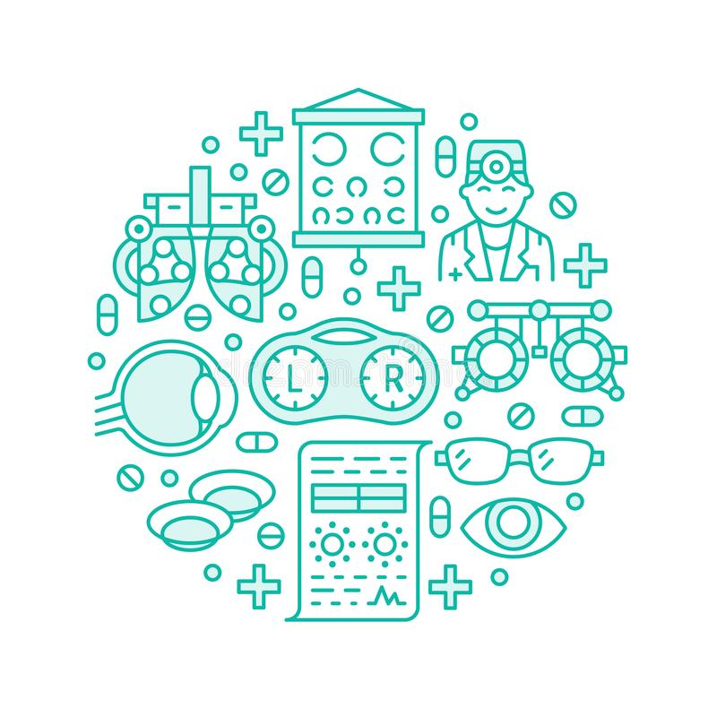 Οφθαλμολογία, αχθοφόρος κύκλων υγειονομικής περίθαλψης ματιών με τα εικονίδια γραμμών Εξοπλισμός οπτομετρίας, φακοί επαφής, γυαλι ελεύθερη απεικόνιση δικαιώματος