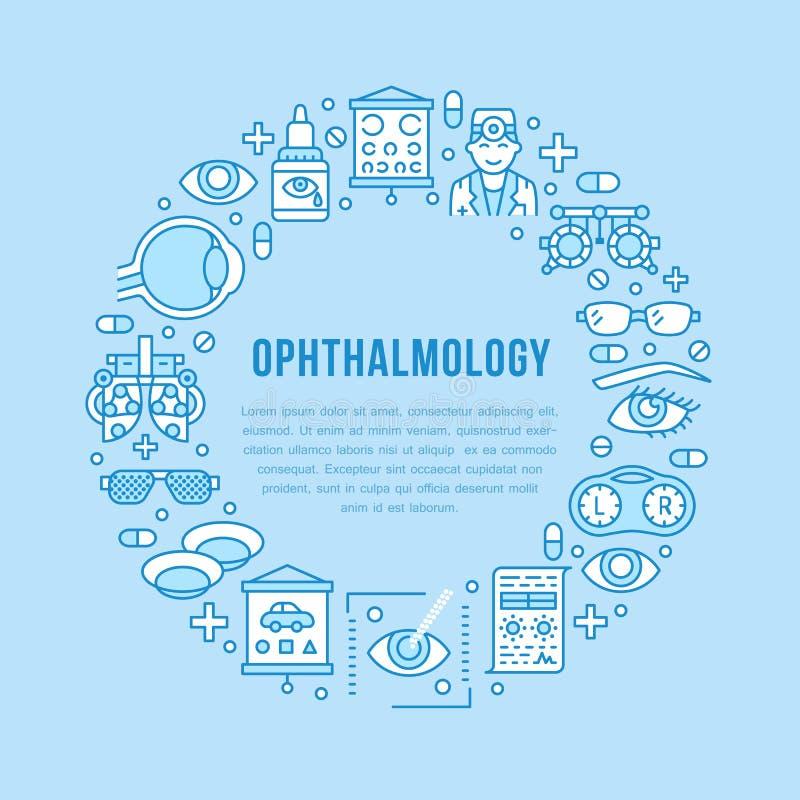 Οφθαλμολογία, αχθοφόρος κύκλων υγειονομικής περίθαλψης ματιών με τα εικονίδια γραμμών Εξοπλισμός οπτομετρίας, φακοί επαφής, γυαλι απεικόνιση αποθεμάτων
