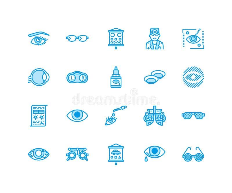 Οφθαλμολογία, εικονίδια γραμμών υγειονομικής περίθαλψης ματιών Εξοπλισμός οπτομετρίας, φακοί επαφής, γυαλιά, τύφλωση Διόρθωση ορά διανυσματική απεικόνιση