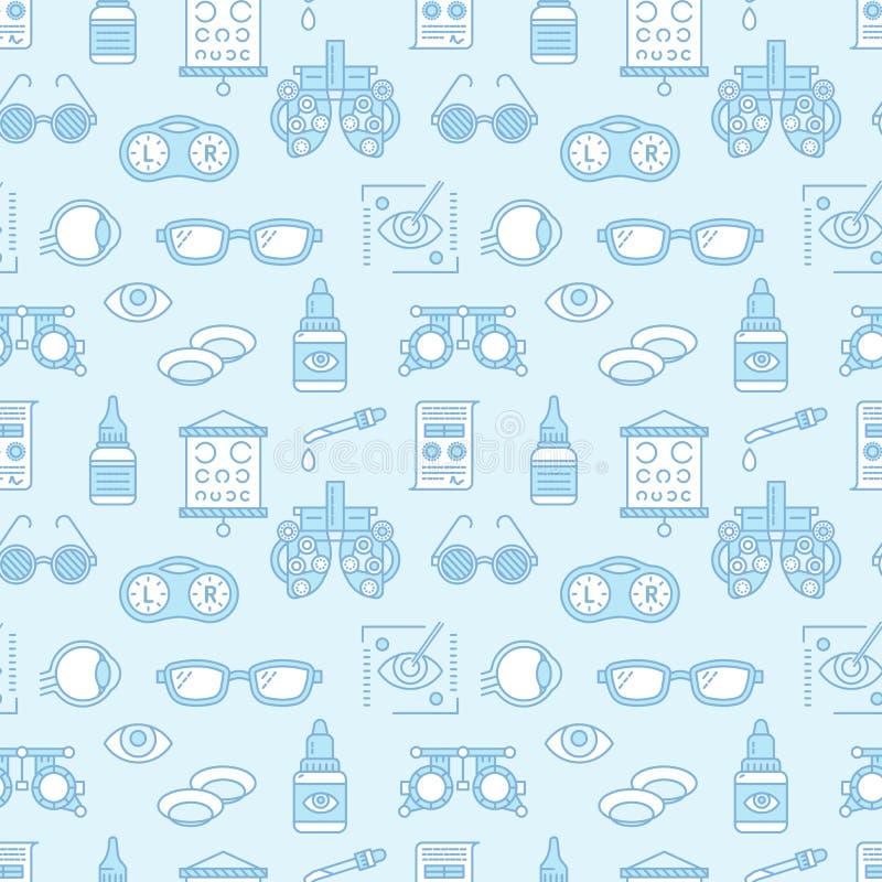 Οφθαλμολογία, άνευ ραφής σχέδιο υγειονομικής περίθαλψης ματιών, ιατρικό διανυσματικό μπλε υπόβαθρο Εξοπλισμός οπτομετρίας, φακοί  διανυσματική απεικόνιση
