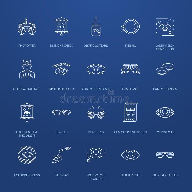 Οφθαλμολογία, εικονίδια γραμμών υγειονομικής περίθαλψης ματιών Εξοπλισμός οπτομετρίας, φακοί επαφής, γυαλιά, τύφλωση Διόρθωση ορά ελεύθερη απεικόνιση δικαιώματος