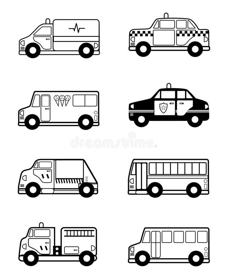οχήματα παιχνιδιών περιγρ&alp ελεύθερη απεικόνιση δικαιώματος