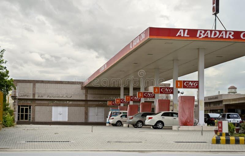 Οχήματα στο σταθμό CNG στοκ εικόνα