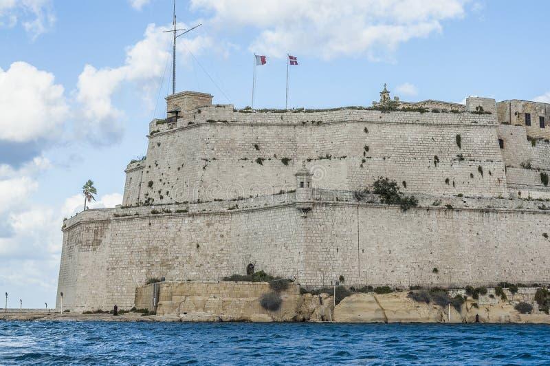 Οχυρό Άγιος Angelo σε Vittoriosa (Birgu), Μάλτα, όπως βλέπει από στοκ φωτογραφία