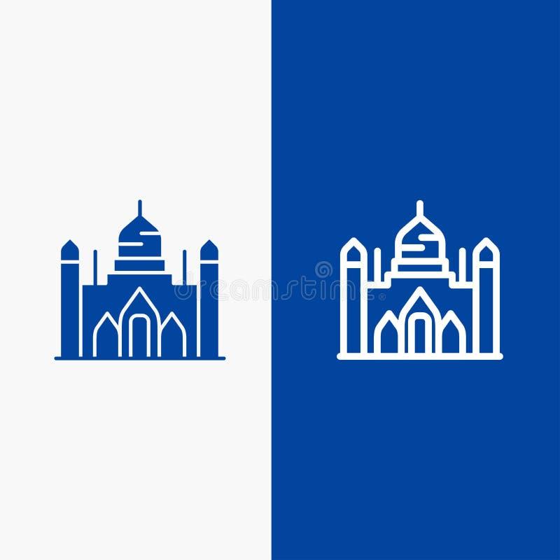 Οχυρό Aurangabad, Μπανγκλαντές, Dhaka, γραμμή Lalbagh και στερεά γραμμή εμβλημάτων εικονιδίων Glyph μπλε και στερεό μπλε έμβλημα  ελεύθερη απεικόνιση δικαιώματος
