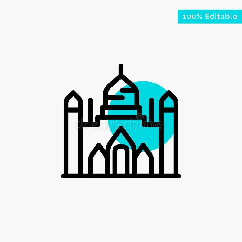 Οχυρό Aurangabad, Μπανγκλαντές, Dhaka, διανυσματικό εικονίδιο σημείου κυριώτερων κύκλων Lalbagh τυρκουάζ διανυσματική απεικόνιση