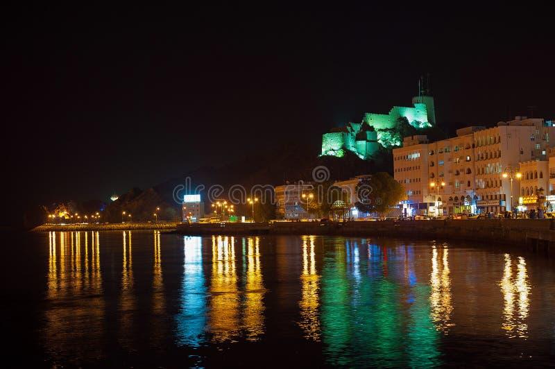 Οχυρό Mutrah τη νύχτα, Muscat, Ομάν στοκ φωτογραφία με δικαίωμα ελεύθερης χρήσης