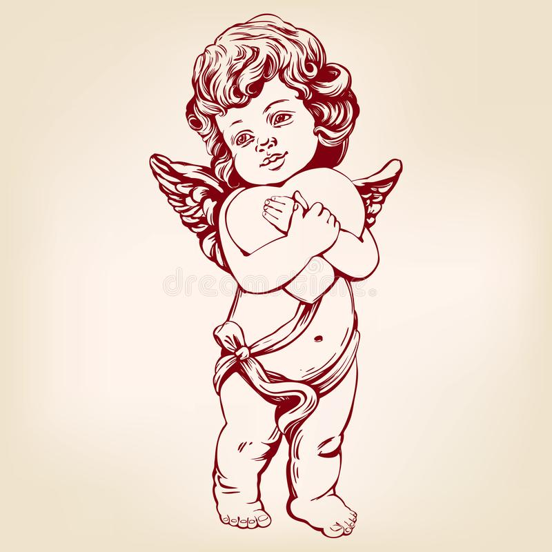 Ο άγγελος ή cupid, λίγο μωρό κρατά μια καρδιά, η ημέρα βαλεντίνων, αγάπη, συρμένη χέρι διανυσματική απεικόνιση ευχετήριων καρτών  διανυσματική απεικόνιση