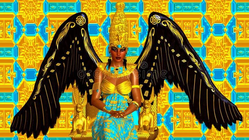 Ο άγγελος της Αιγύπτου Φτερά των σκουλαρικιών χρυσού και των Μαύρων και φτερών Καθισμένος σε έναν χρυσό θρόνο με μια αιγυπτιακή κ ελεύθερη απεικόνιση δικαιώματος