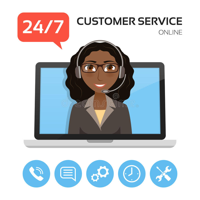 ο άγγελος ως όμορφη επιχειρηματίας καλύπτει πελατών τη φιλική υπηρεσία αγάπης οδηγιών χρήσιμη που χαμογελά πολύ σε σας Έννοια τηλ ελεύθερη απεικόνιση δικαιώματος