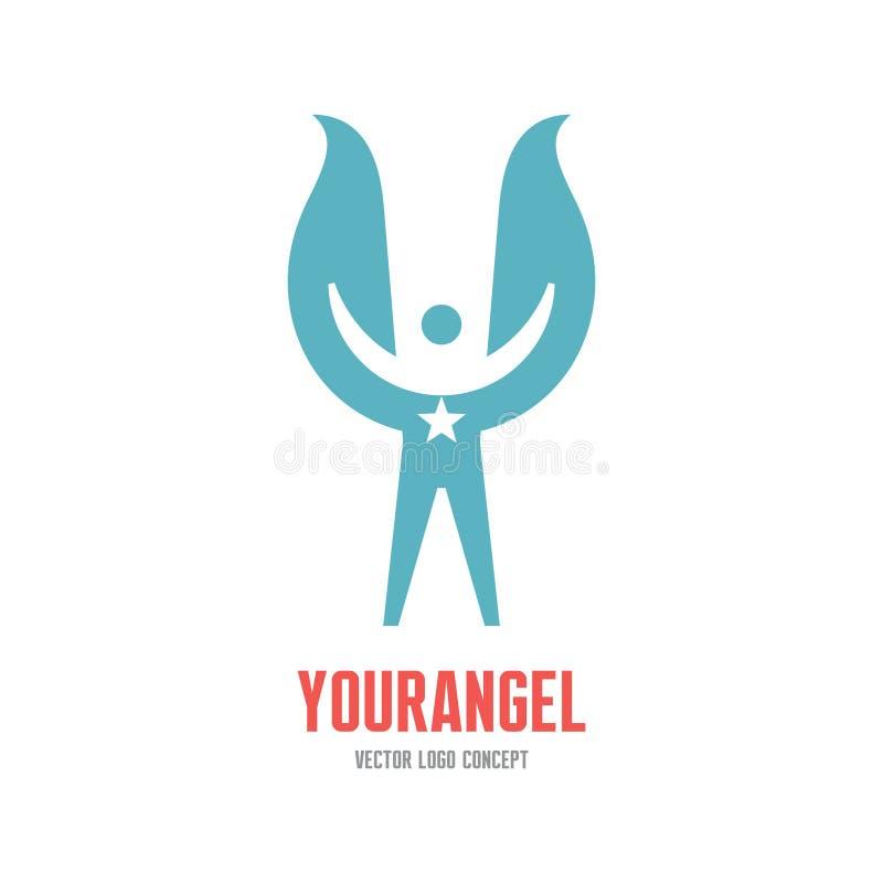 Ο άγγελός σας - διανυσματική απεικόνιση έννοιας προτύπων λογότυπων Ανθρώπινος χαρακτήρας με τα φτερά και το σημάδι αστεριών διάνυ διανυσματική απεικόνιση