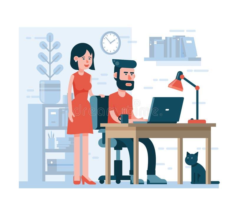 Ο άνδρας εργάζεται στη γυναίκα lap-top στέκεται έπειτα ελεύθερη απεικόνιση δικαιώματος