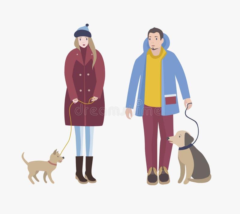 Ο άνδρας και η γυναίκα έντυσαν στο χειμερινό ιματισμό που στέκεται, που κρατά τα σκυλιά τους στα λουριά και που εξετάζει ο ένας τ διανυσματική απεικόνιση