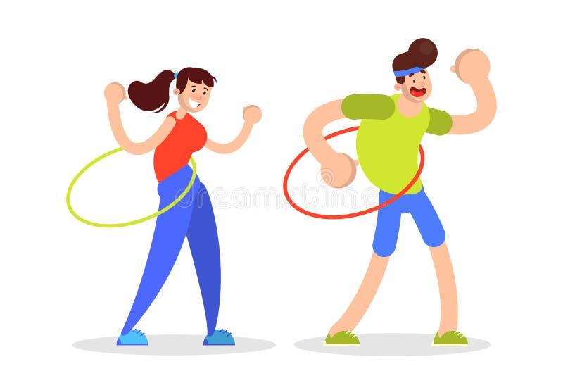 Ο άνδρας και η γυναίκα περιστρέφονται τη στεφάνη hula Άσκηση για τα ABS ελεύθερη απεικόνιση δικαιώματος