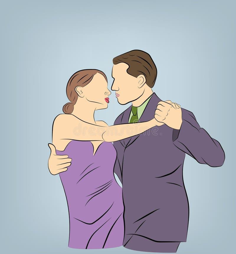 Ο άνδρας και η γυναίκα χορεύουν r διανυσματική απεικόνιση