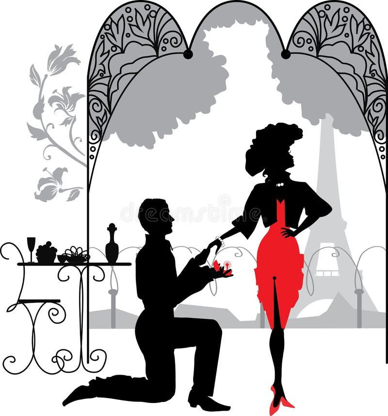 Ο άνδρας προτείνει μια γυναίκα για να παντρεψει την πρόταση γάμου ελεύθερη απεικόνιση δικαιώματος