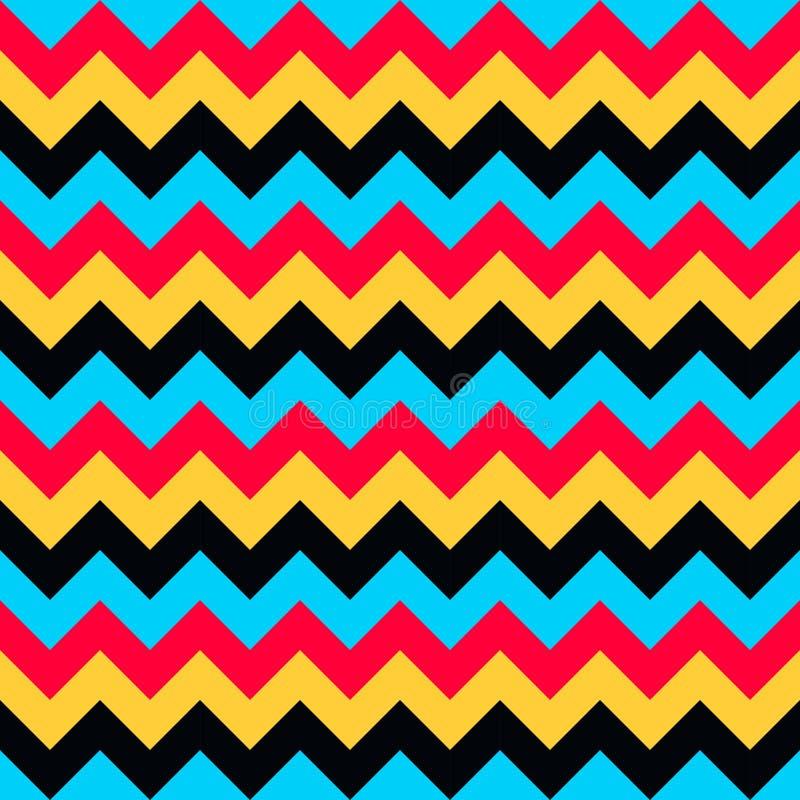 Ο άνευ ραφής διανυσματικός βελών σχεδίων σιριτιών μπλε κόκκινος κίτρινος Μαύρος aqua γεωμετρικού σχεδίου ζωηρόχρωμος διανυσματική απεικόνιση