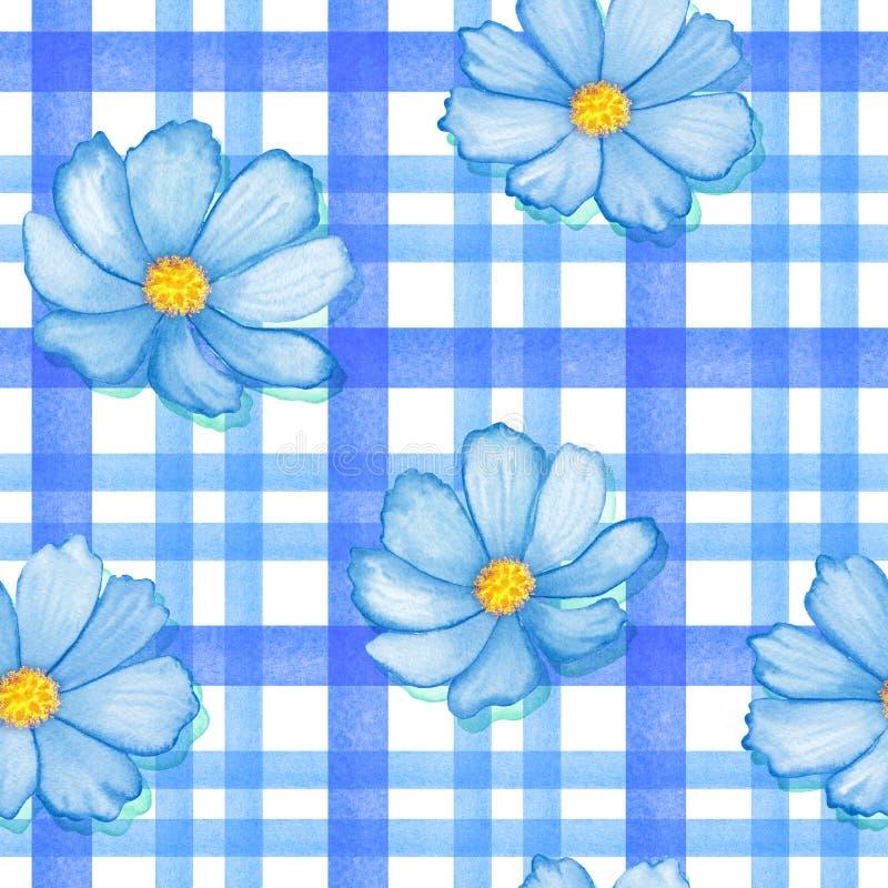 Ο άνευ ραφής κόσμος λουλουδιών gingham ελέγχει τα κίτρινα χρώματα μπλε λουλούδια στη διακόσμηση λωρίδων Watercolor ρεαλιστικό διανυσματική απεικόνιση