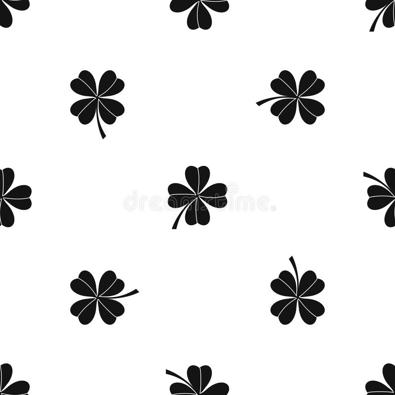 Ο άνευ ραφής Μαύρος σχεδίων τριφυλλιού τεσσάρων φύλλων ελεύθερη απεικόνιση δικαιώματος