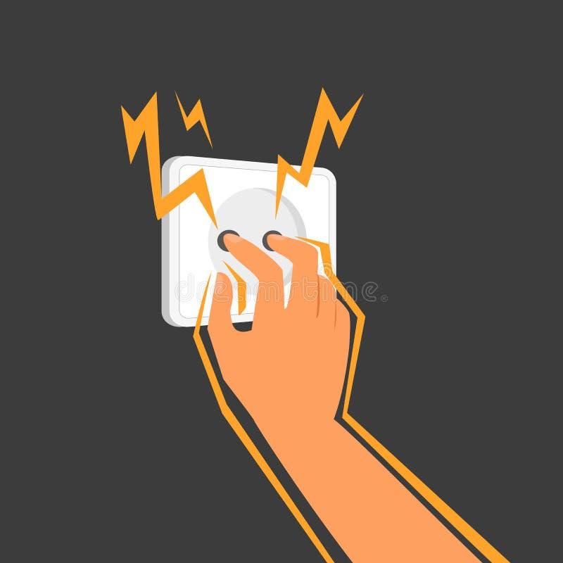 Ο άνθρωπος κολλά τα δάχτυλά του σε μια ηλεκτρική έξοδο ελεύθερη απεικόνιση δικαιώματος