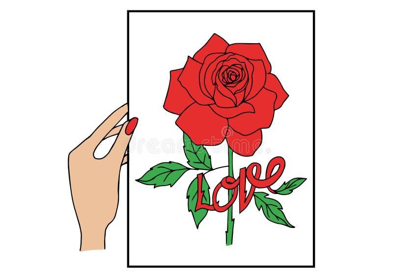 Ο άνθρωπος μαζεύει με το χέρι κόκκινο αυξήθηκε κάρτα με την αγάπη λέξης διανυσματική απεικόνιση