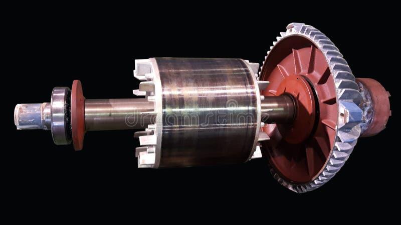 Ο άξονας στροφέων και φέρων για το ηλεκτρικό κινητήρα, η μηχανή εξέτασης και το νέο ρουλεμάν αλλαγής για το ηλεκτρικό κινητήρα στ στοκ φωτογραφία