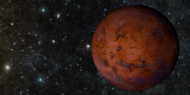 Ο Άρης που πυροβολείται από το διάστημα διανυσματική απεικόνιση