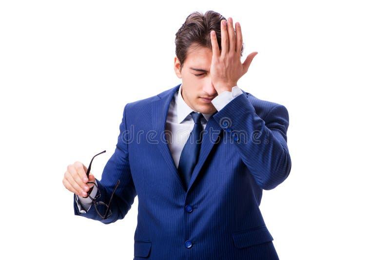 Ο άρρωστος και δυστυχισμένος επιχειρηματίας που απομονώνεται στο άσπρο υπόβαθρο στοκ φωτογραφία