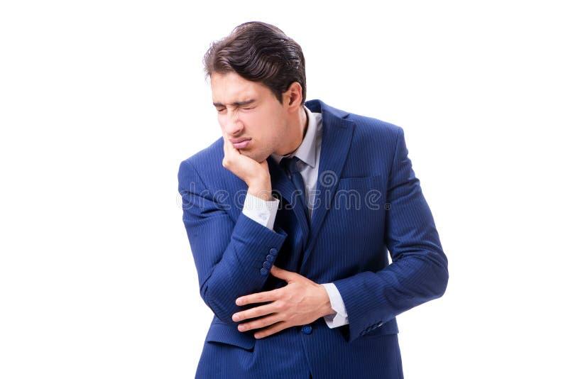 Ο άρρωστος και δυστυχισμένος επιχειρηματίας που απομονώνεται στο άσπρο υπόβαθρο στοκ φωτογραφία με δικαίωμα ελεύθερης χρήσης